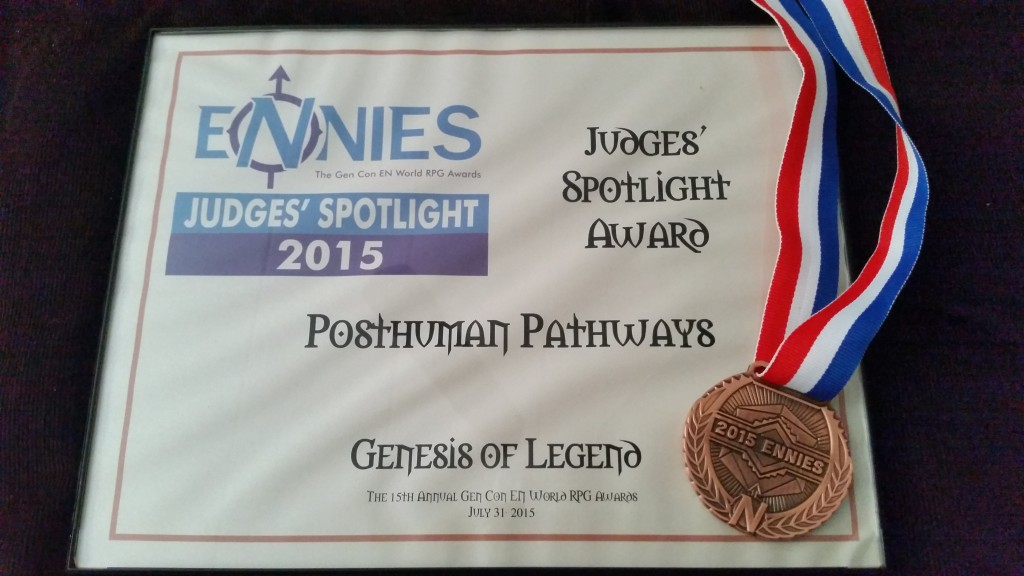 ENnies Award Certificate