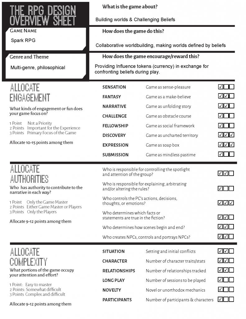 Game Design Sheet - Spark
