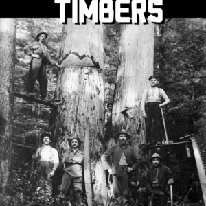 A group of lumberjacks posing before a giant tree.