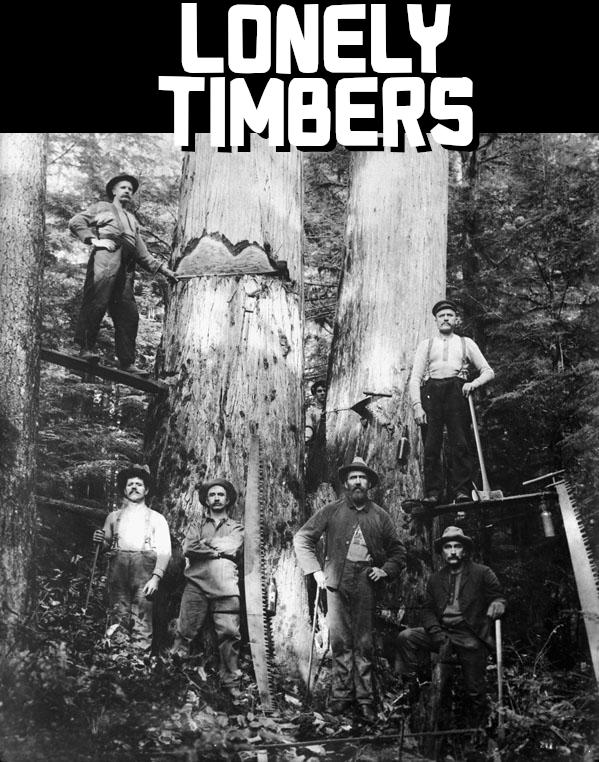 A group of lumberjacks posing before a giant tree.