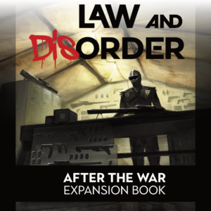 Law and Disorder Cover, with a militarized law enforcement officer standing behind a table full of guns.